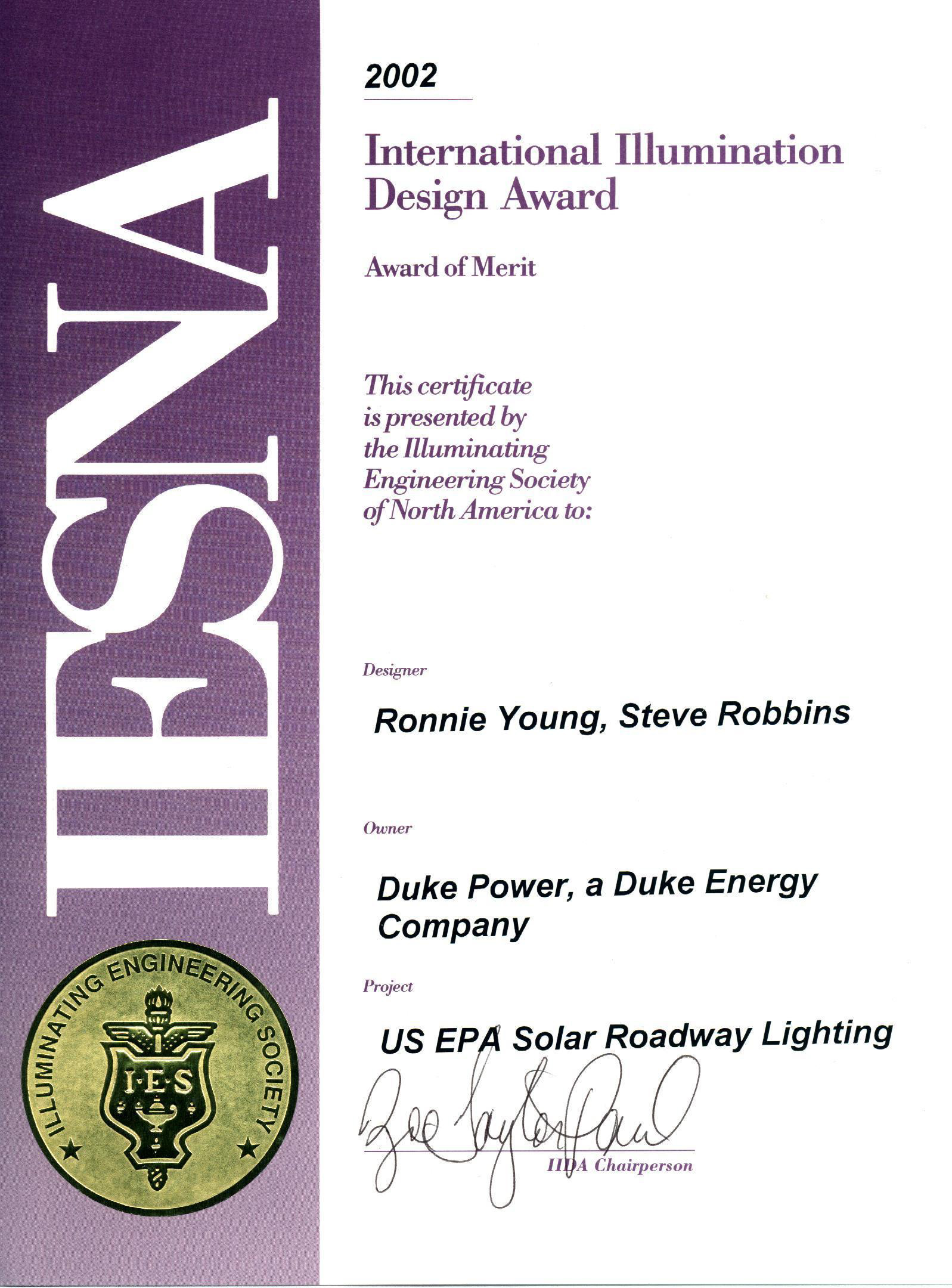 IESNA Award Solar Roadway Lighting