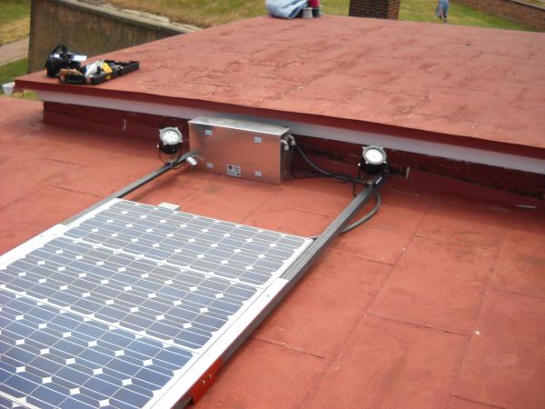Fort McHenry Solar Flag Lights Roof Installed