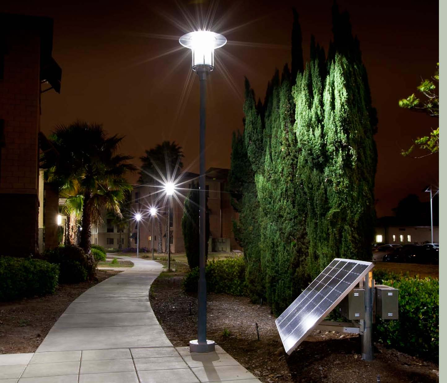Solar unit operates 4 Slide fixtures on long walkway sm