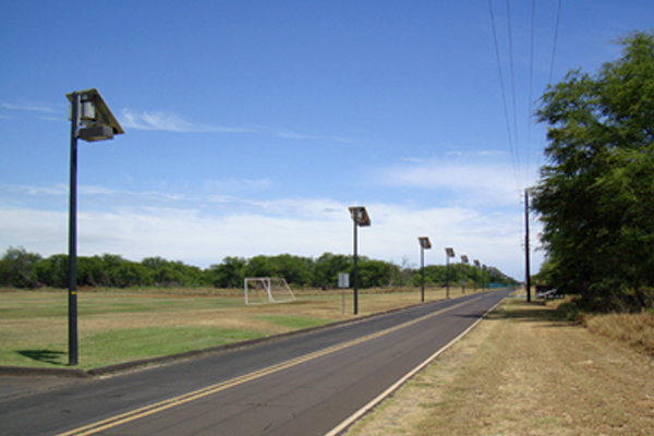 Solar roadway lights at pacific missile range facility