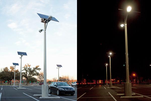Solar Parking Lot Lights day / night VA Temple
