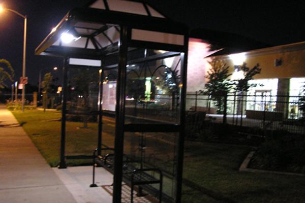 Solar Bus Shelter Lighting at Night