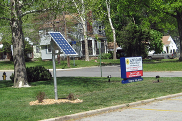 Sunflower Medical internally illuminated solar lighting for sign