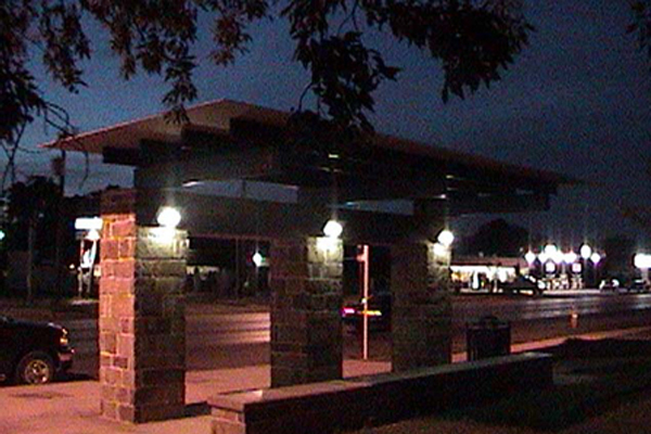 Solar Bus Shelter at Night VIA