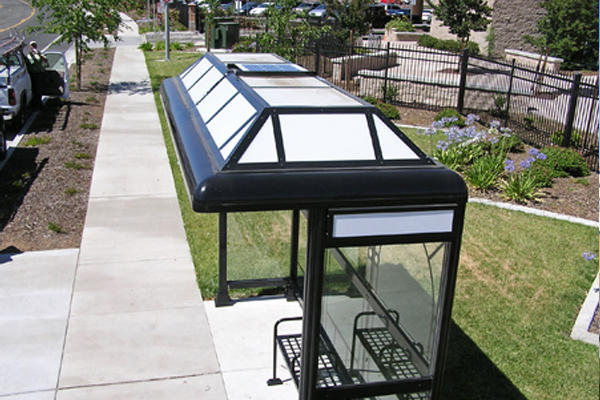solar panel on bus shelter