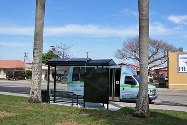 solar bus shelter light