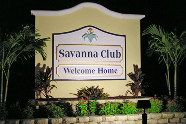 Savanna solar sign light at night
