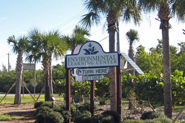 Environmental Study Center solar sign lighting