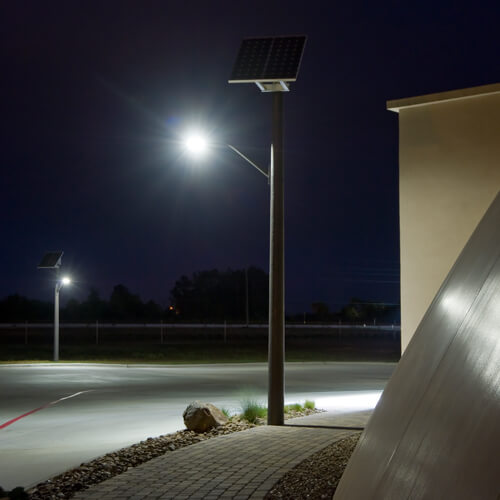 Solar LED Lighting System at Night at Golden Sands Domes