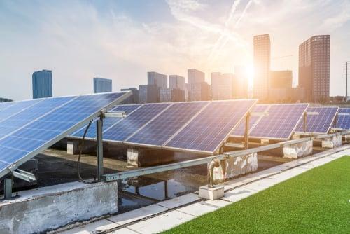 Solar Panels Outside City