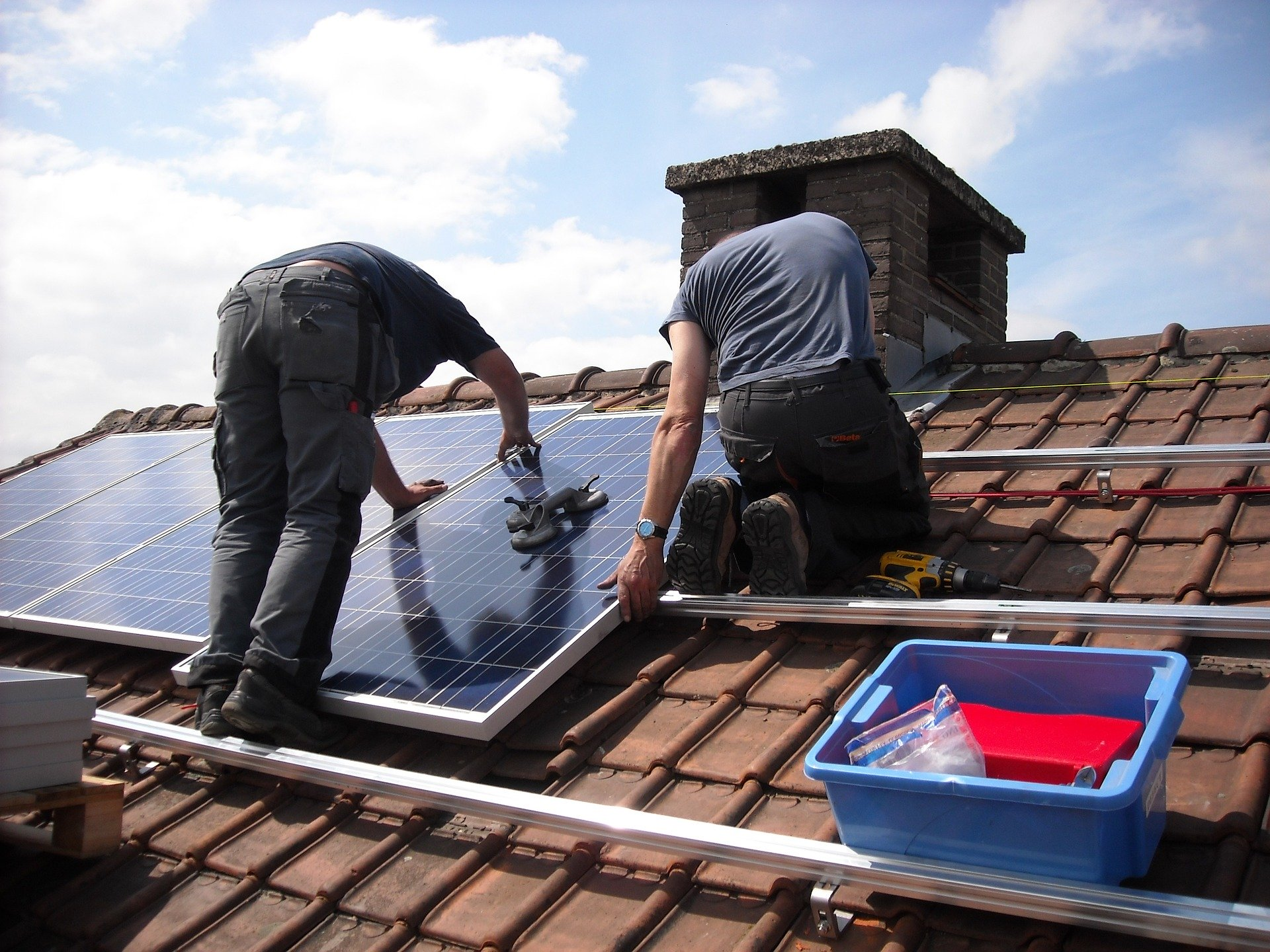 solar panels installation on roof