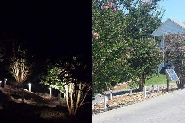 Commercial Solar Landscape LED Lighting Day and Night
