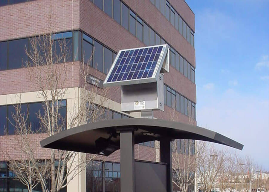 Solar Kiosk Sign Light Aurora Higher Education Center