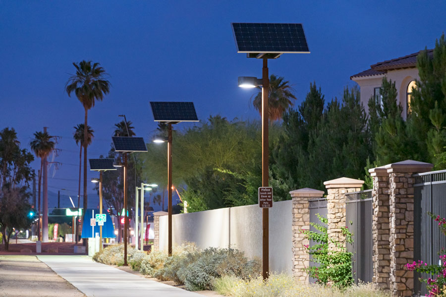 Highline Canal Solar LED Lighting Systems along a pathway