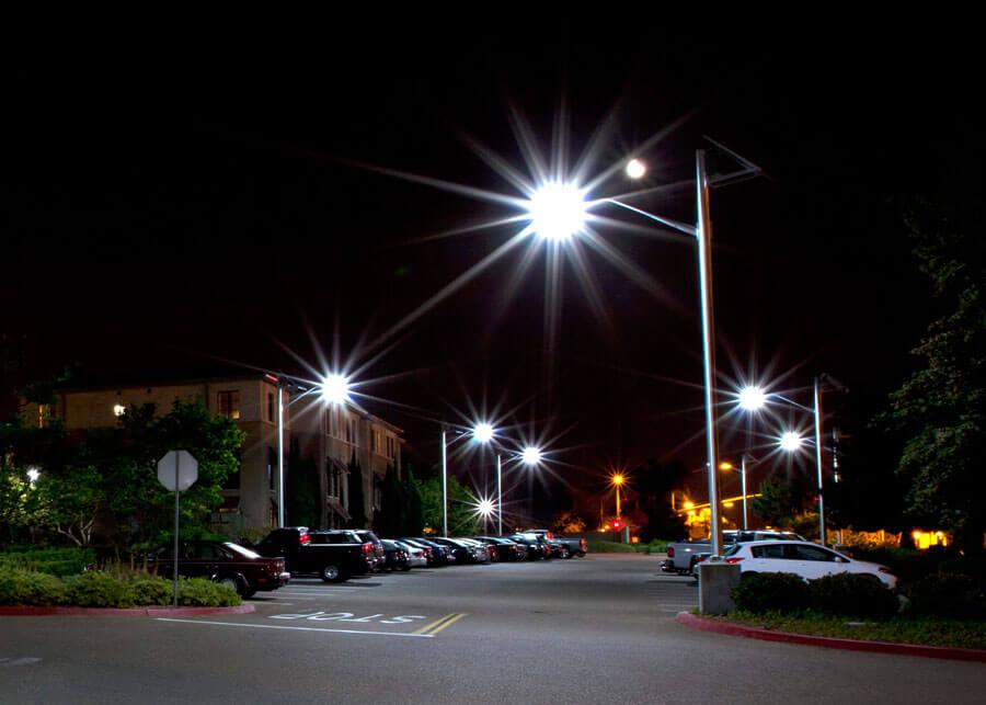 Solar Parking Lot Lighting at Night