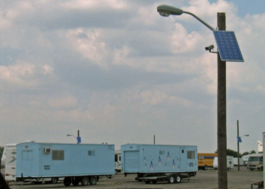 RV Storage Facility Solar Power Security Lighting and Camera