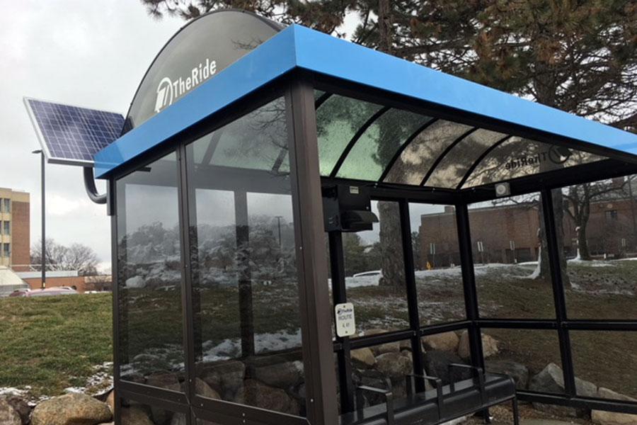 EMU solar bus shelter lighting