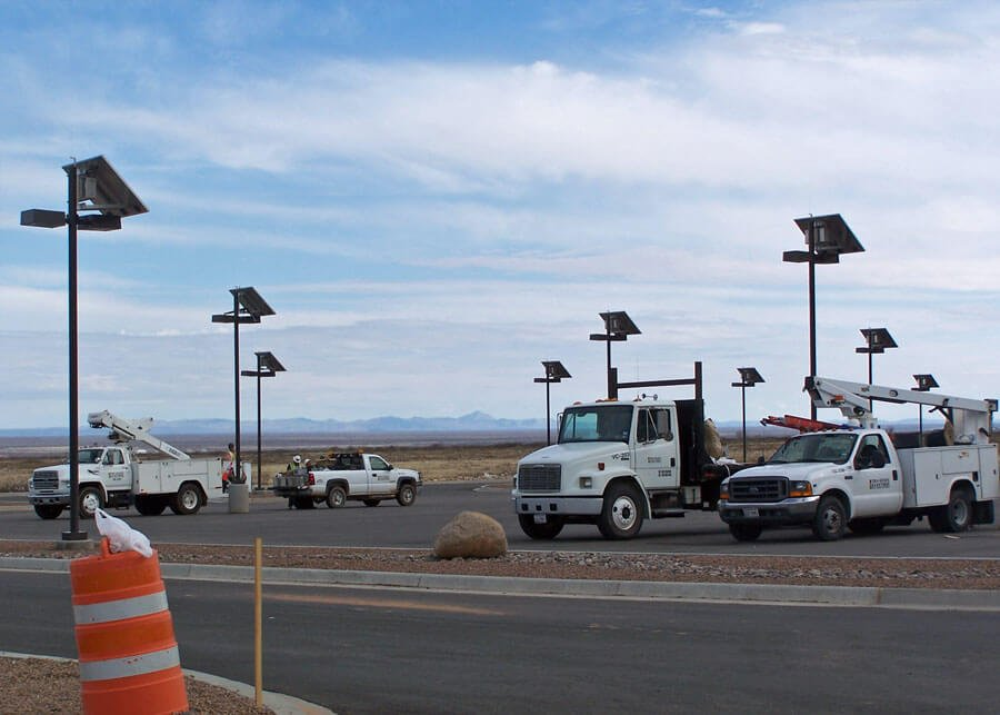 Solar Light Poles for Military Parking Lot Project