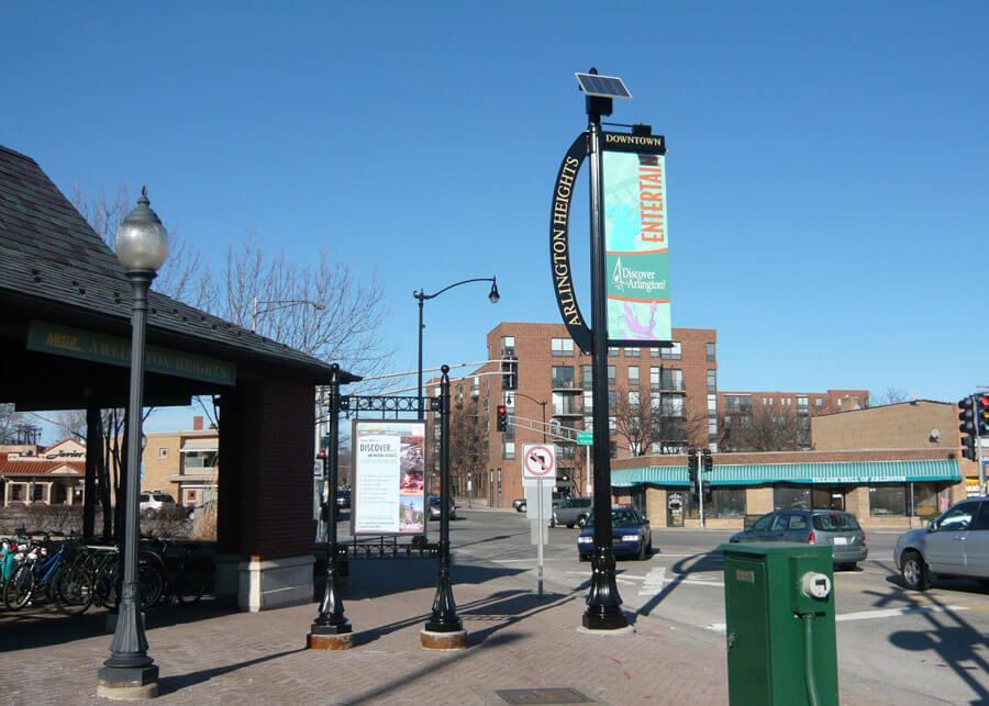 Arlington Heights Solar Banner Lights