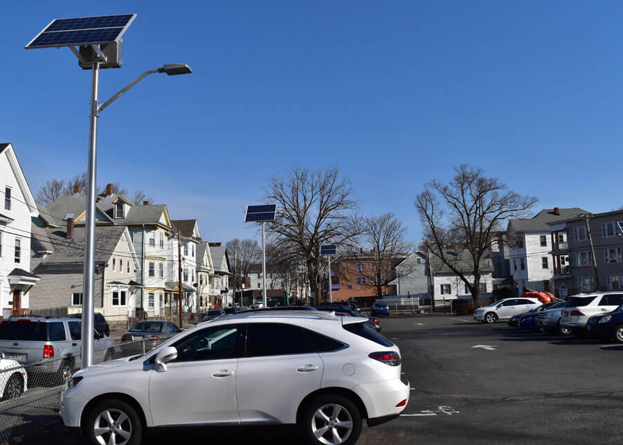 SolarViper Solar LED Lighting System Lawrence MA Parking Lot