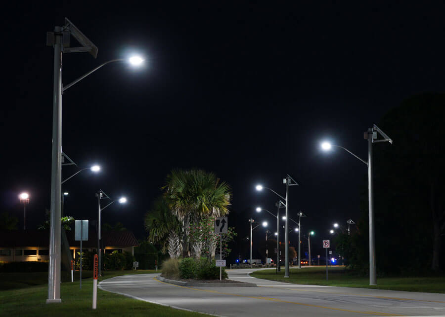 Martin County Airport Solar LED Roadway Lighting at Night