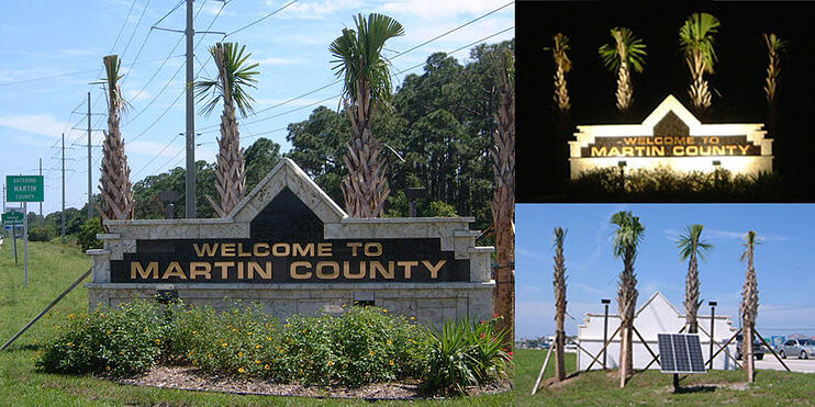 Martin County Solar Sign Lights with Solar Landscape Flood Light