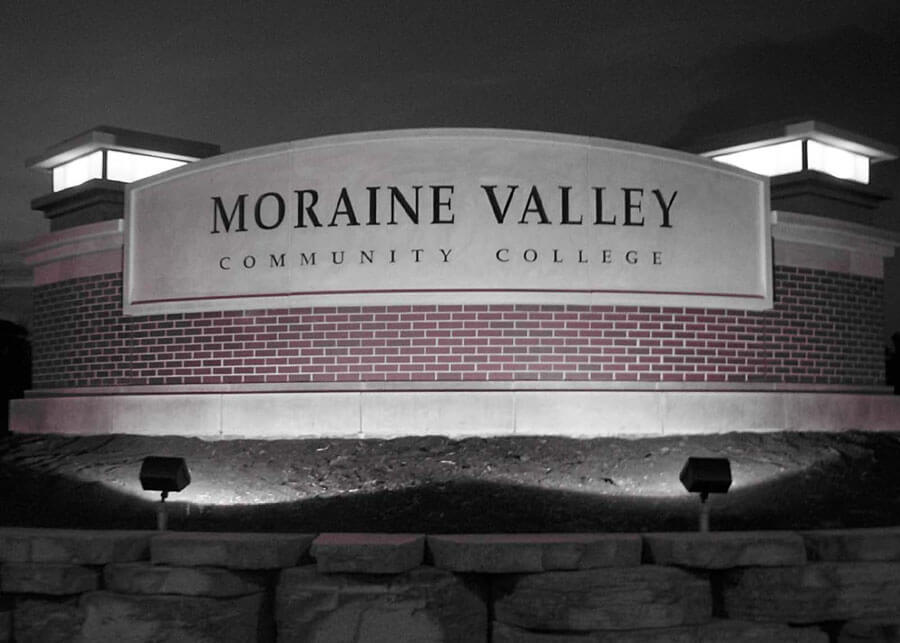 Solar Monument Sign Lighting For Moraine Valley College