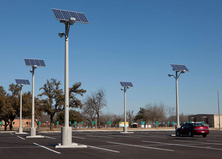 VA Temple TX Solar Powered Parking Lot Lights