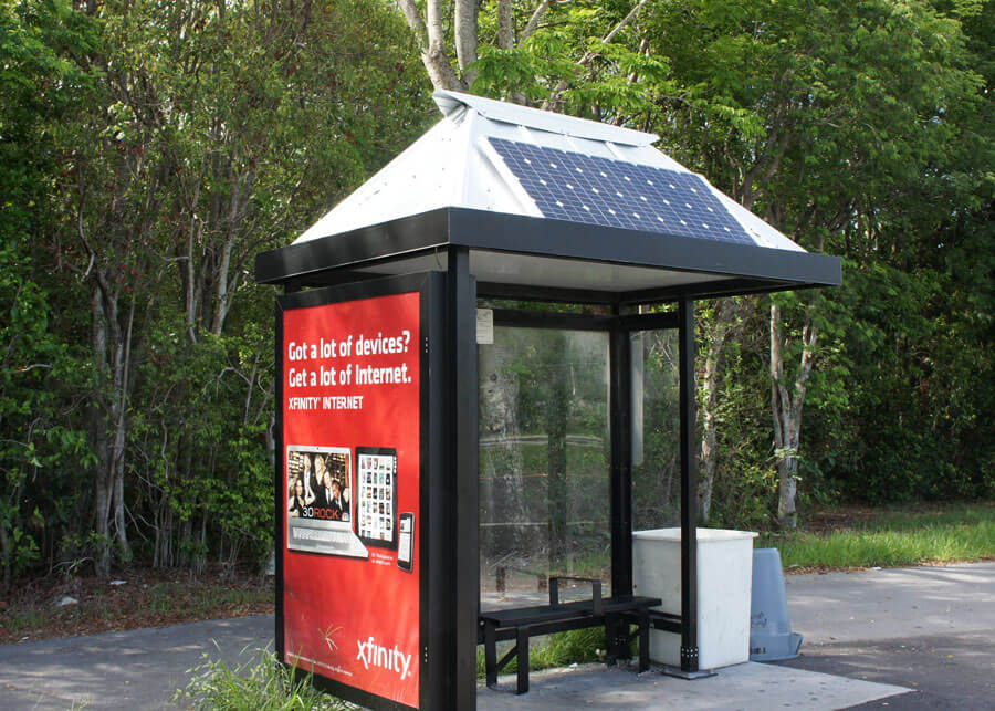 Key West FL Solar Bus Shelter Ad Box Lighting