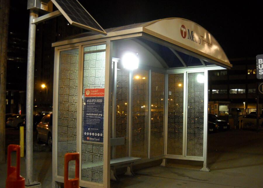 MN Metro Transit Solar LED Bus Shelter with Remote Solar