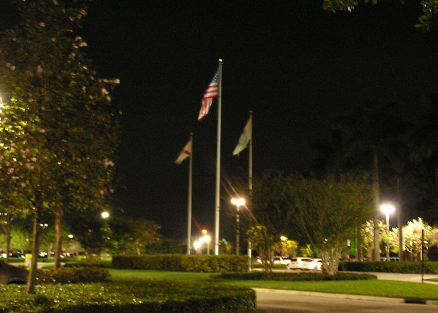 Cleveland Clinic Solar LED Flag Lighting Night