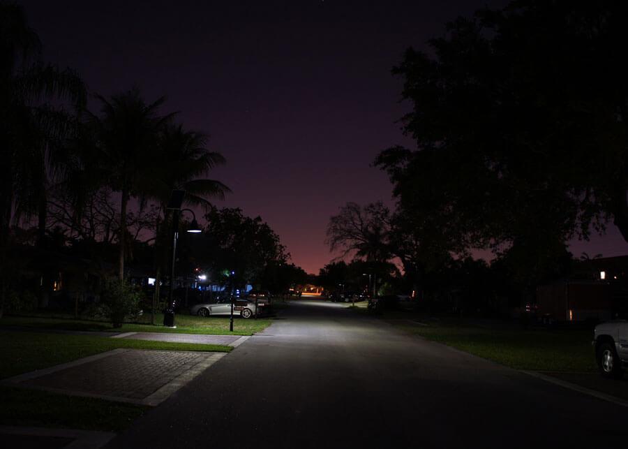 Dania Beach Decorative Solar LED Light at Night Neighborhood Roadway