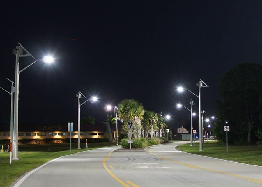 Martin County Airport SolarViper Solar LED Roadway Lighting at Night