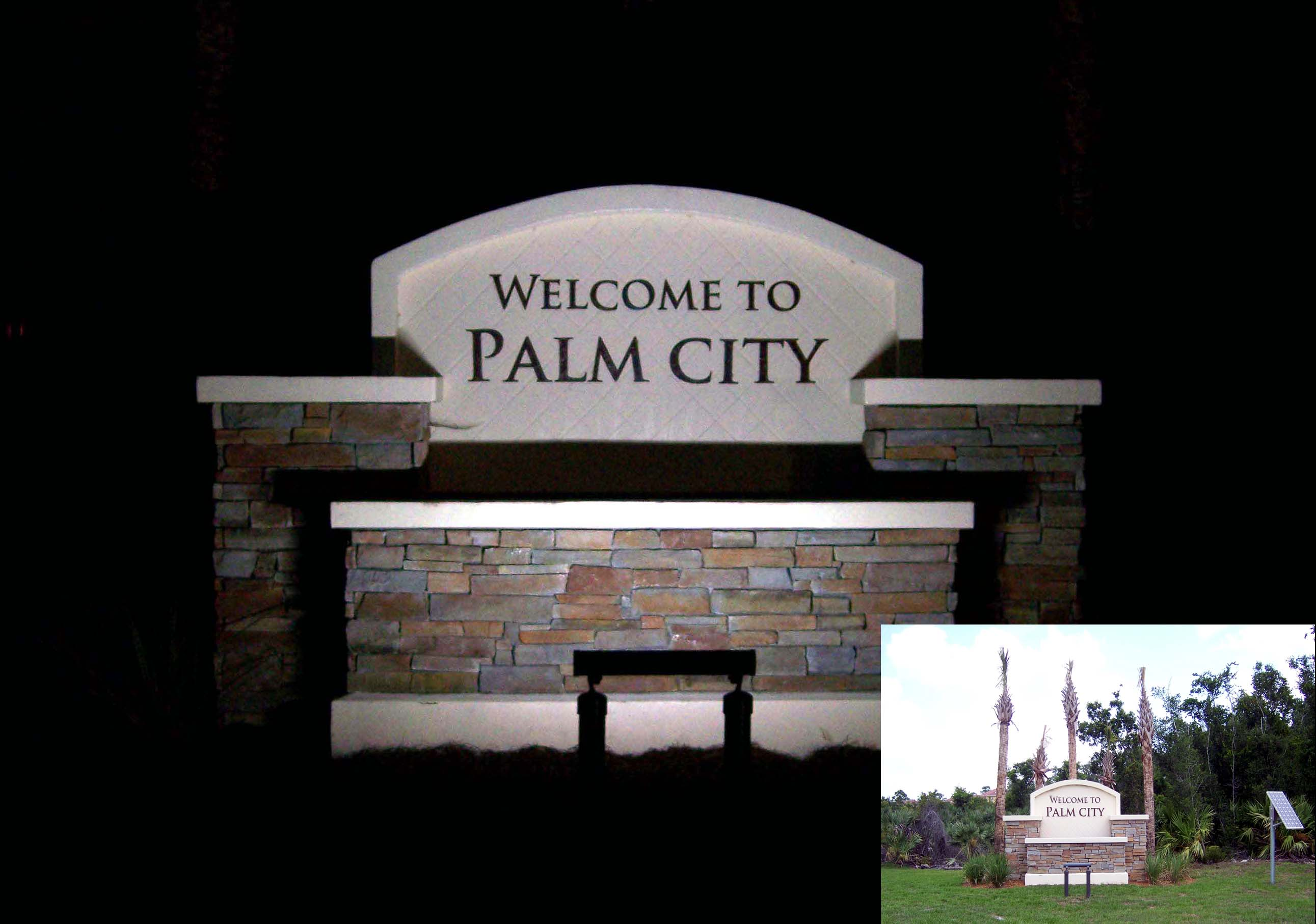 How outdoor solar sign lights are used for cities and municipalities outdoor solar sign light palm city aloadofball Choice Image